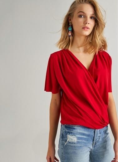 Monamoda Kruvaze Yaka Örme Bluz Kırmızı